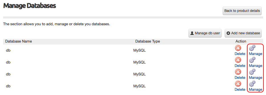 Image showing Manage Databases page
