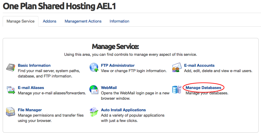 Image showing Manage Service page